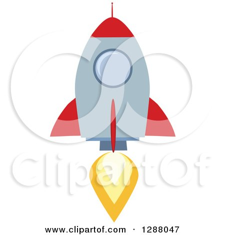 Clipart of a Modern Flat Design of a Red and Metal Rocket Taking off - Royalty Free Vector Illustration by Hit Toon