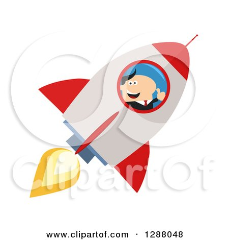 Clipart of a Modern Flat Design of a White Businessman Holding a Thumb up and Flying in a Rocket - Royalty Free Vector Illustration by Hit Toon