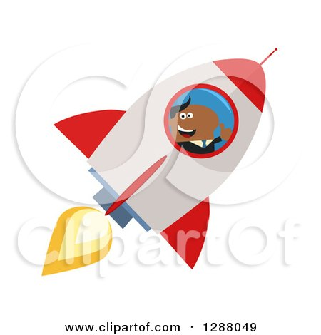 Clipart of a Modern Flat Design of a Black Businessman Holding a Thumb up and Flying in a Rocket - Royalty Free Vector Illustration by Hit Toon