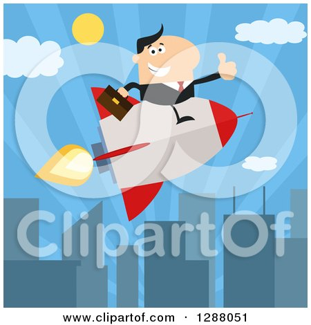 Clipart of a Modern Flat Design of a White Businessman Holding a Thumb up and Flying in a Rocket over a City - Royalty Free Vector Illustration by Hit Toon