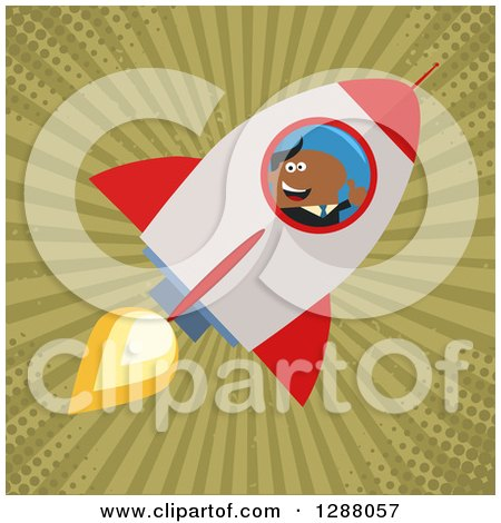 Clipart of a Modern Flat Design of a Black Businessman Holding a Thumb up and Flying in a Rocket over Grungy Green Rays and Halftone - Royalty Free Vector Illustration by Hit Toon