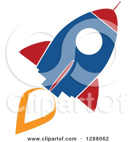 Clipart of a Modern Flat Design of a Blue Red and White Rocket with an Orange Trail - Royalty Free Vector Illustration by Hit Toon