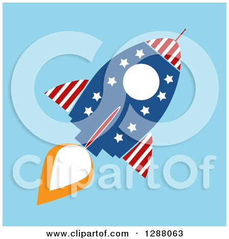 Clipart of a Modern Flat Design of an American Rocket over Blue - Royalty Free Vector Illustration by Hit Toon