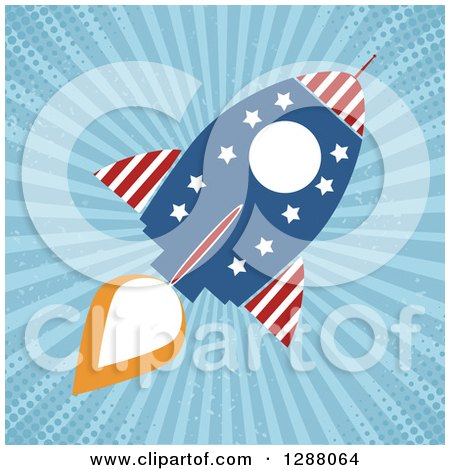 Clipart of a Modern Flat Design of an American Rocket over Blue Grungy Rays and Halftone - Royalty Free Vector Illustration by Hit Toon