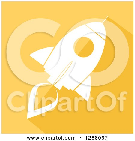 Clipart of a Modern Flat Design of a White Rocket with a Shadow on Yellow - Royalty Free Vector Illustration by Hit Toon