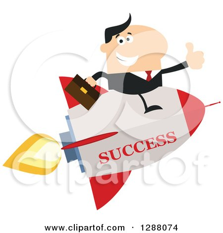Clipart of a Modern Flat Design of a White Businessman Holding a Thumb up and Flying on a Success Rocket - Royalty Free Vector Illustration by Hit Toon