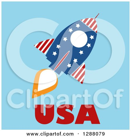 Clipart of a Modern Flat Design of an American Rocket with USA Text over Blue - Royalty Free Vector Illustration by Hit Toon