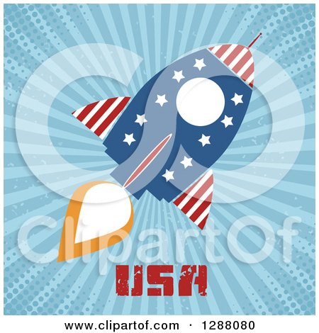Clipart of a Modern Flat Design of an American Rocket with USA Text over Blue Grungy Rays and Halftone - Royalty Free Vector Illustration by Hit Toon