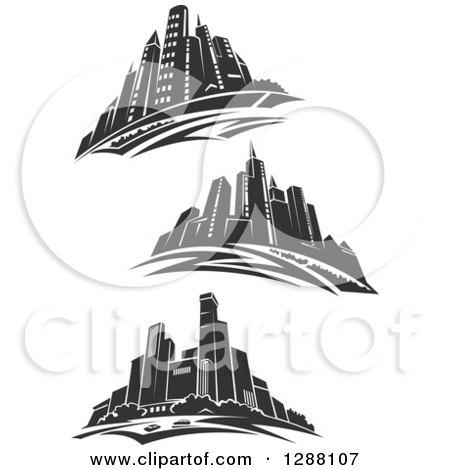 Clipart of Dark Gray City Skyscraper Skylines - Royalty Free Vector Illustration by Vector Tradition SM