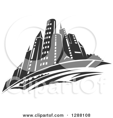 Clipart of a Dark Gray City Skyscraper Skyline - Royalty Free Vector Illustration by Vector Tradition SM