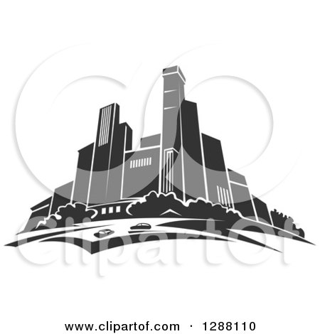 Clipart of a Dark Gray City Skyscraper Skyline 3 - Royalty Free Vector Illustration by Vector Tradition SM