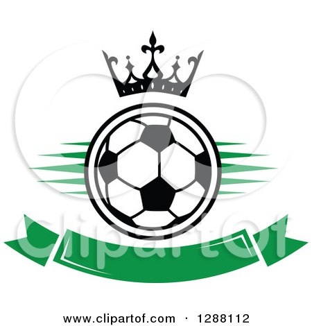 Clipart of a Crown over a Black and White Soccer Ball with Green Marks and a Blank Banner - Royalty Free Vector Illustration by Vector Tradition SM