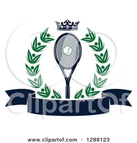 Clipart of a Green Wreath a Navy Blue Crown, Ball and Racket over a Blank Banner - Royalty Free Vector Illustration by Vector Tradition SM