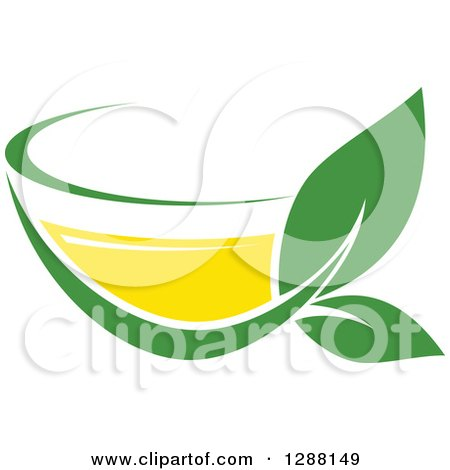 Clipart of a Green and Yellow Tea Cup with Leaves 5 - Royalty Free Vector Illustration by Vector Tradition SM