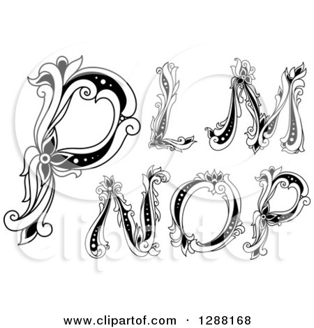 Clipart of Black and White Vintage Floral Capital Letters L, M, N, O and P - Royalty Free Vector Illustration by Vector Tradition SM