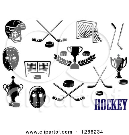 Clipart of Black and White Hockey Designs and Text - Royalty Free Vector Illustration by Vector Tradition SM