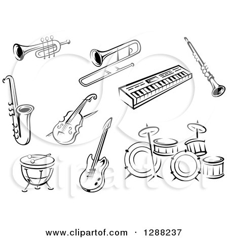 Clipart of Black and White Sketched Instruments - Royalty Free Vector Illustration by Vector Tradition SM