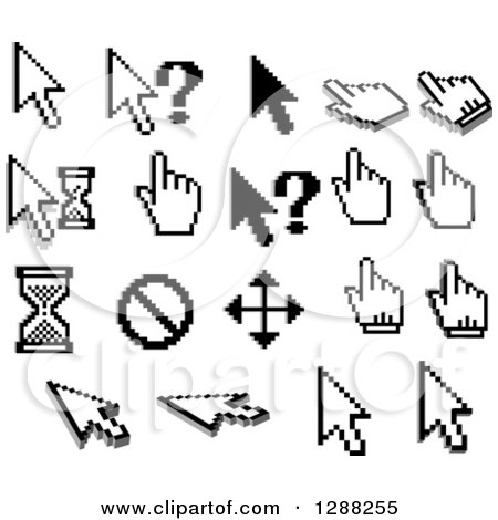 Clipart of Grayscale Pixelated Computer Cursors - Royalty Free Vector Illustration by Vector Tradition SM