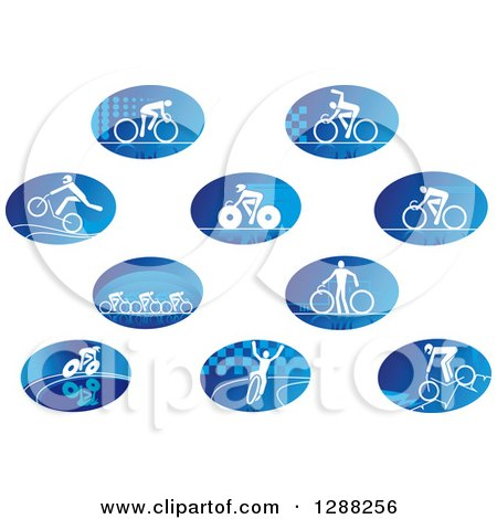 Clipart of Oval Icons of White Cyclists over Blue - Royalty Free Vector Illustration by Vector Tradition SM
