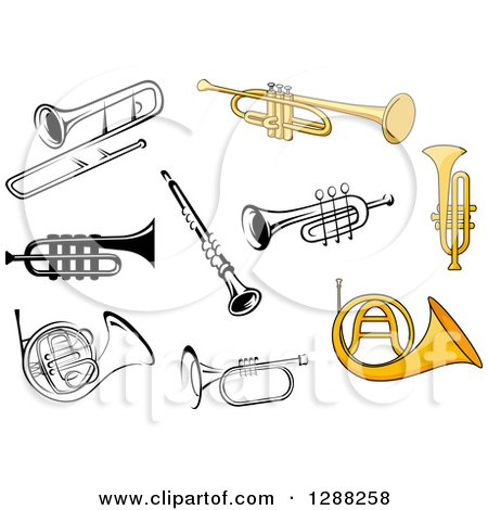 Clipart of Trumpets, Trombones, French Horns and a Clarinet - Royalty Free Vector Illustration by Vector Tradition SM