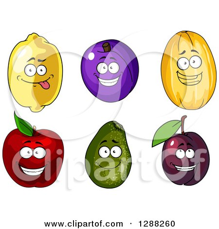 Clipart of Lemon, Plum, Canary Melon, Red Apple and Avocado Characters - Royalty Free Vector Illustration by Vector Tradition SM