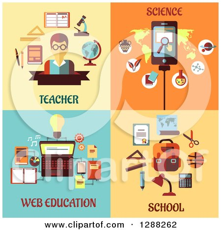 Clipart of Flat Modern Styled Teacher, Science, Web Education and School Designs - Royalty Free Vector Illustration by Vector Tradition SM