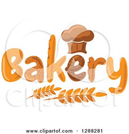 Clipart of a Chef Hat Shaped Muffin or Bread Loaf over Bakery Text and Wheat 2 - Royalty Free Vector Illustration by Vector Tradition SM