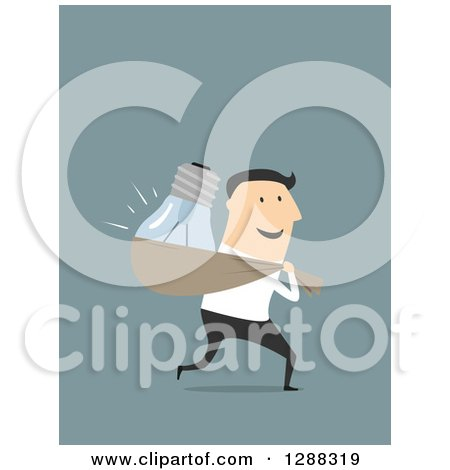 Clipart of a Flat Modern Design Styled White Businessman Stealing a Light Bulb Idea, over Blue - Royalty Free Vector Illustration by Vector Tradition SM