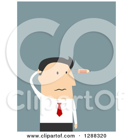 Clipart of a Flat Modern Design Styled White Businessman with a Burnt out Pencil Flying like a Bullet by His Head, over Blue - Royalty Free Vector Illustration by Vector Tradition SM