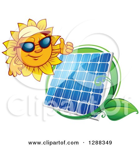 Clipart of a Sun Wearing Shade and Giving a Thumb up over a Solar Panel Encircled with a Swoosh and Green Leaf - Royalty Free Vector Illustration by Vector Tradition SM