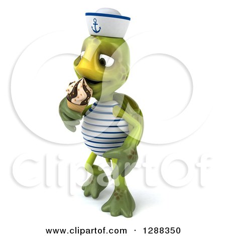 Clipart of a 3d Tortoise Sailor Facing Left and Eating a Waffle Ice Cream Cone - Royalty Free Illustration by Julos