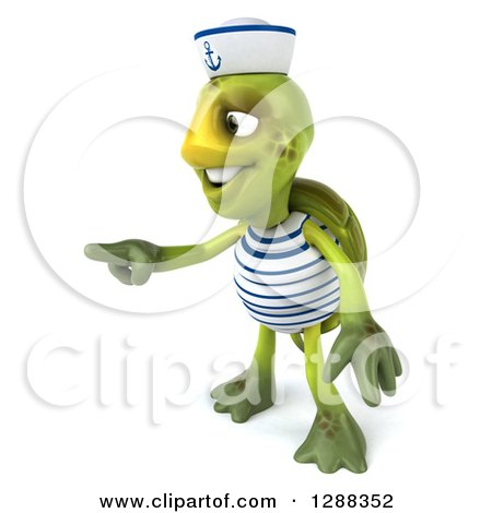 Clipart of a 3d Tortoise Sailor Pointing to the Left - Royalty Free Illustration by Julos