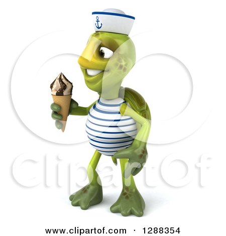 Clipart of a 3d Tortoise Sailor Facing Left and Holding a Waffle Ice Cream Cone - Royalty Free Illustration by Julos