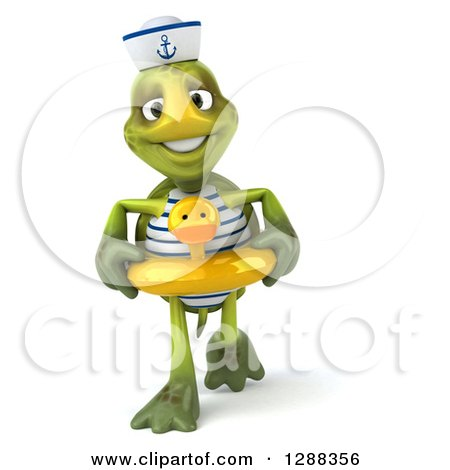 Clipart of a 3d Tortoise Sailor Walking in a Duck Inner Tube - Royalty Free Illustration by Julos