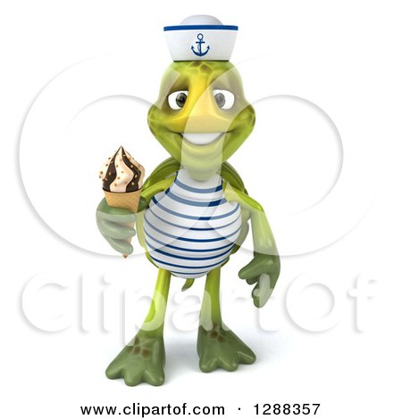 Clipart of a 3d Tortoise Sailor Holding a Waffle Ice Cream Cone - Royalty Free Illustration by Julos