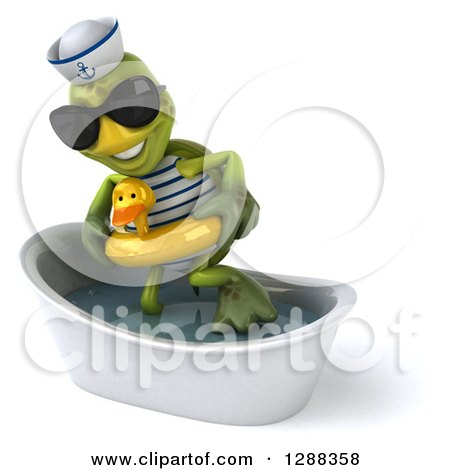 Clipart of a 3d Tortoise Sailor Wearing Sunglasses and Getting out of a Bath Tub with a Duck Inner Tube - Royalty Free Illustration by Julos