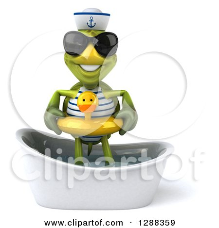 Clipart of a 3d Tortoise Sailor Wearing Sunglasses and Standing in a Bath Tub with a Duck Inner Tube - Royalty Free Illustration by Julos