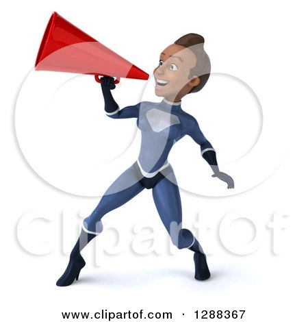 Clipart of a 3d Young Black Female Super Hero in a Dark Blue Suit, Announcing to the Left with a Megaphone - Royalty Free Illustration by Julos