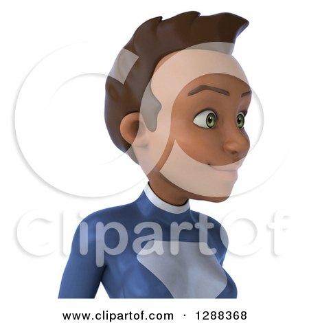 Clipart of a 3d Avatar of a Young Black Female Super Hero in a Dark Blue Suit, from the Shoulders up - Royalty Free Illustration by Julos