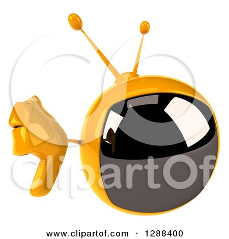 Clipart of a 3d Retro Yellow TV Character Holding up a Thumb down - Royalty Free Illustration by Julos