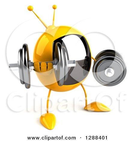 Clipart of a 3d Retro Yellow TV Character Facing Slightly Right and Working out with Dumbbells - Royalty Free Illustration by Julos