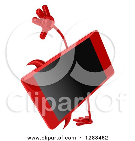 Clipart of a 3d Devil Smart Phone Character Cartwheeling - Royalty Free Illustration by Julos