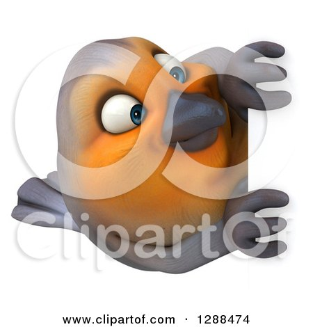 Clipart of a 3d Red Robin Bird Around a Sign - Royalty Free Illustration by Julos