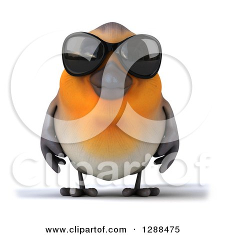 Clipart of a 3d Red Robin Bird Wearing Dark Sunglasses - Royalty Free Illustration by Julos