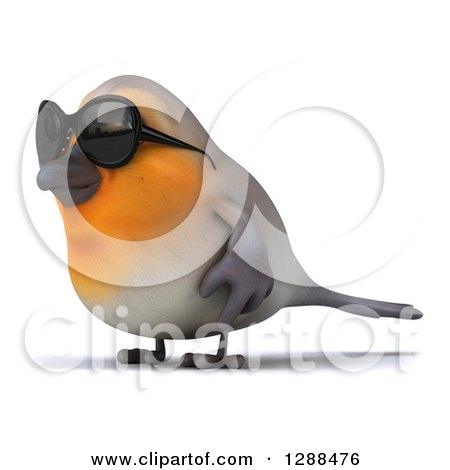 Clipart of a 3d Red Robin Bird Wearing Sunglasses and Facing Left - Royalty Free Illustration by Julos