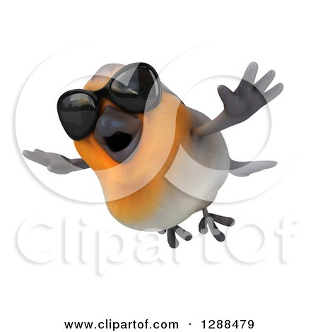 Clipart of a 3d Red Robin Bird Wearing Sunglasses and Flying Slightly Left - Royalty Free Illustration by Julos