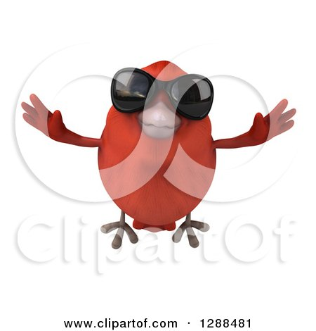Clipart of a 3d Red Bird Wearing Sunglasses and Flying Forward - Royalty Free Illustration by Julos
