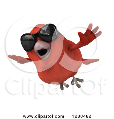 Clipart of a 3d Red Bird Wearing Sunglasses and Flying Slightly Left - Royalty Free Illustration by Julos