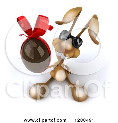 Clipart of a 3d Brown Bunny Rabbit Wearing Sunglasses and Holding up a Chocolate Easter Egg - Royalty Free Illustration by Julos