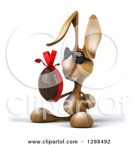 Clipart of a 3d Brown Bunny Rabbit Wearing Sunglasses, Facing Left and Holding a Chocolate Easter Egg - Royalty Free Illustration by Julos